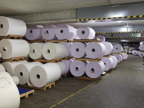 Large paper rolls in Gmund paper manufacturing warehouse, Gmund, Germany, Europe