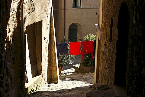 Clothes on Line and Architecture of the Italian Village Roccatederighi Tuscany Italy