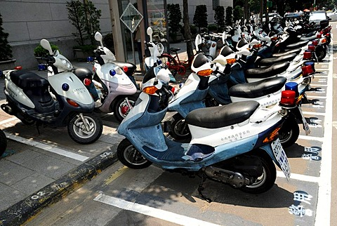 Parked police motorcycle scooters, Taipei, Taiwan, Asia