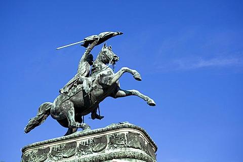Equestrian statue of Emperor Franz Ferdinand on the Ringstrasse, metropolis Vienna, Austria, Europe