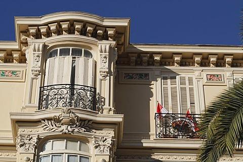 Historic facade on the Boulevard des Moulins, Monaco, Cote d'Azur, Europe