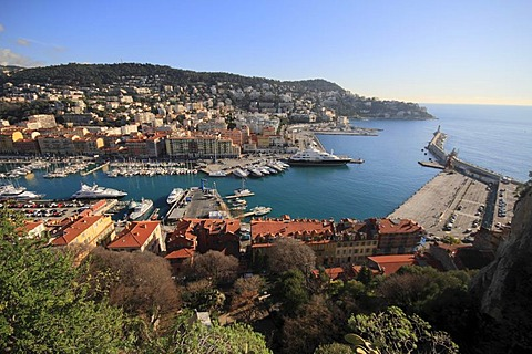 Port, seen from the castle hill, on the right parking space for the ferry to Corsica, Nice, Alpes Maritimes, Region Provence-Alpes-Cote d'Azur, Southern France, France, Europe