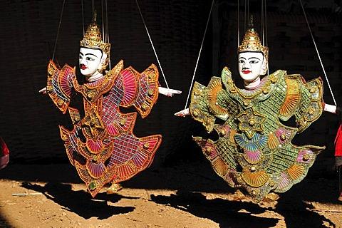 Puppets, dolls, market Indein, Burma, Myanmar, Southeast Asia