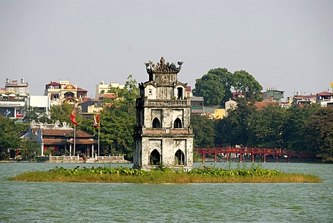 Thap Rua Turtle Tower, red The-Huc-Bridge, Ngoc Son Jade Mountain Temple, Hoan Kiem Lake, old town of Hanoi, Vietnam, Southeast Asia, Asia