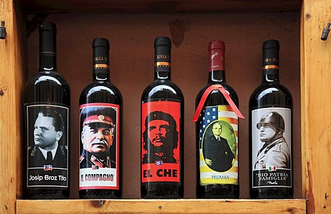 Wine bottles with labels of Mussolini, Stalin, Tito, Trumann, Che Guevara, in the window of a wine shop in Monterosso, Cinque Terre, Liguria, Italy, Europe
