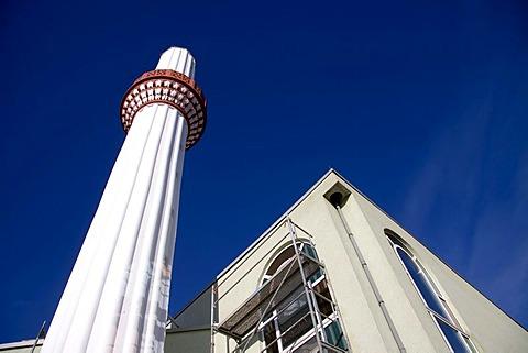 Minaret of the Tuerkiyem Mevlana mosque, Weinheim, Baden-Wuerttemberg, Germany, Europe
