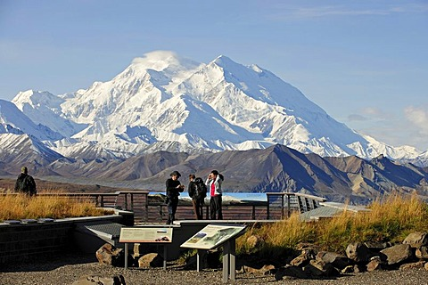 Mt McKinley, highest mountain of North America, taken from the roof of the Eielson Visitor Center, Denali National Park, Alaska