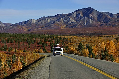 Motorhome on the road, Denali National Park, Alaska