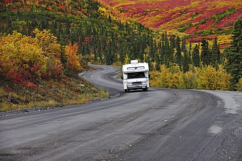 Motorhome driving through the Denali National Park, Alaska