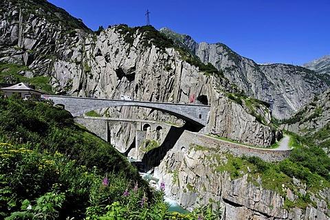 Gotthard Pass Road crossing Reuss Gorge with Devil's Bridge, Canton of Uri, Switzerland, Europe
