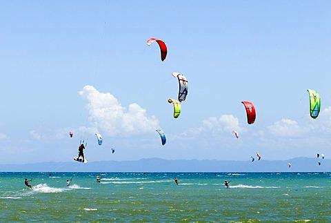 Kite surfers on the beach of El Yaque on the island of Isla Margarita, Venezuela, South America