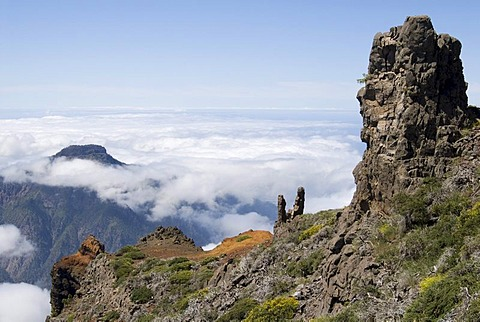 View from the Roque de los Muchachos over the Caldera de Taburiente National Park, La Palma, Canary Islands, Spain, Europe
