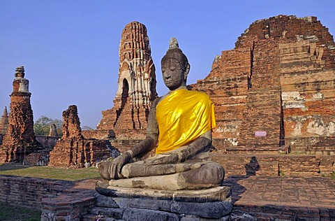 Buddha statue, Wat Mahathat Temple, UNESCO World Heritage, Ayutthaya, Thailand, Asia