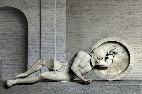 Troian king Laomedon from the east pediment of the Temple of Aegina, Glyptothek museum, Munich, Bavaria, Germany, Europe