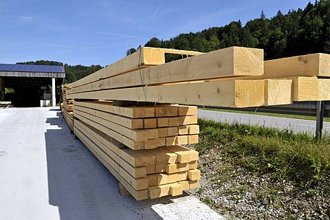 Finished lumber, wood factory in Upper Bavaria, Bavaria, Germany, Europe