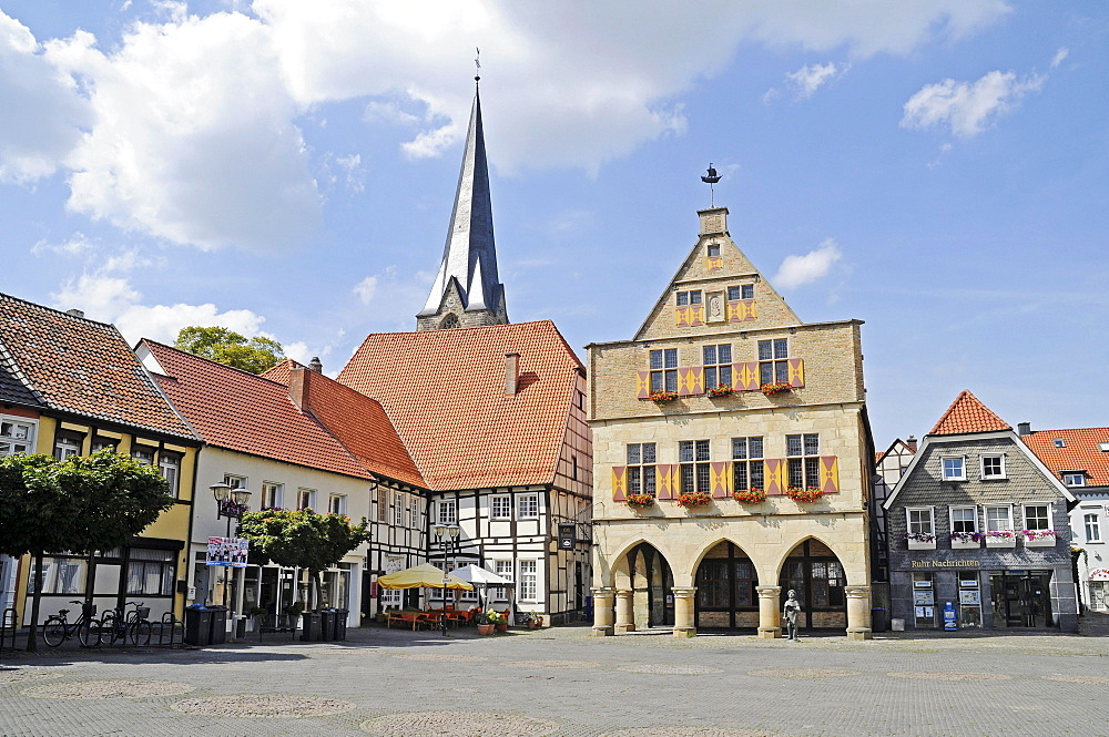 Town hall, market square, church, market place, historic old town, half-timbered facades, Werne, Kreis Unna district, North Rhine-Westphalia, Germany, Europe