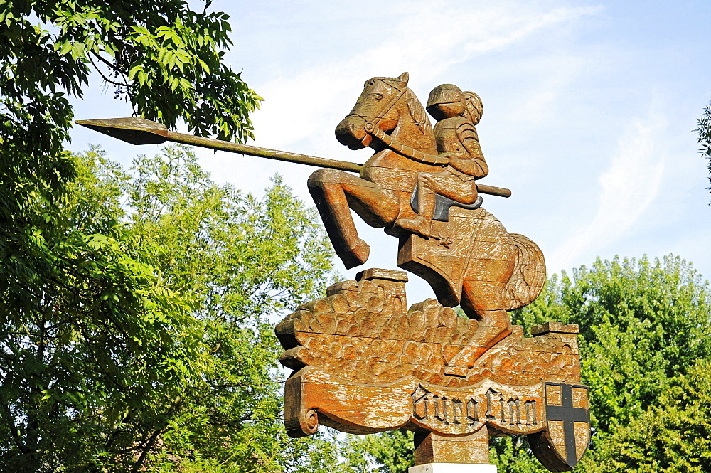 Sign with a knight on horseback holding a lance, Wasserburg Linn moated castle, Krefeld, North Rhine-Westphalia, Germany, Europe