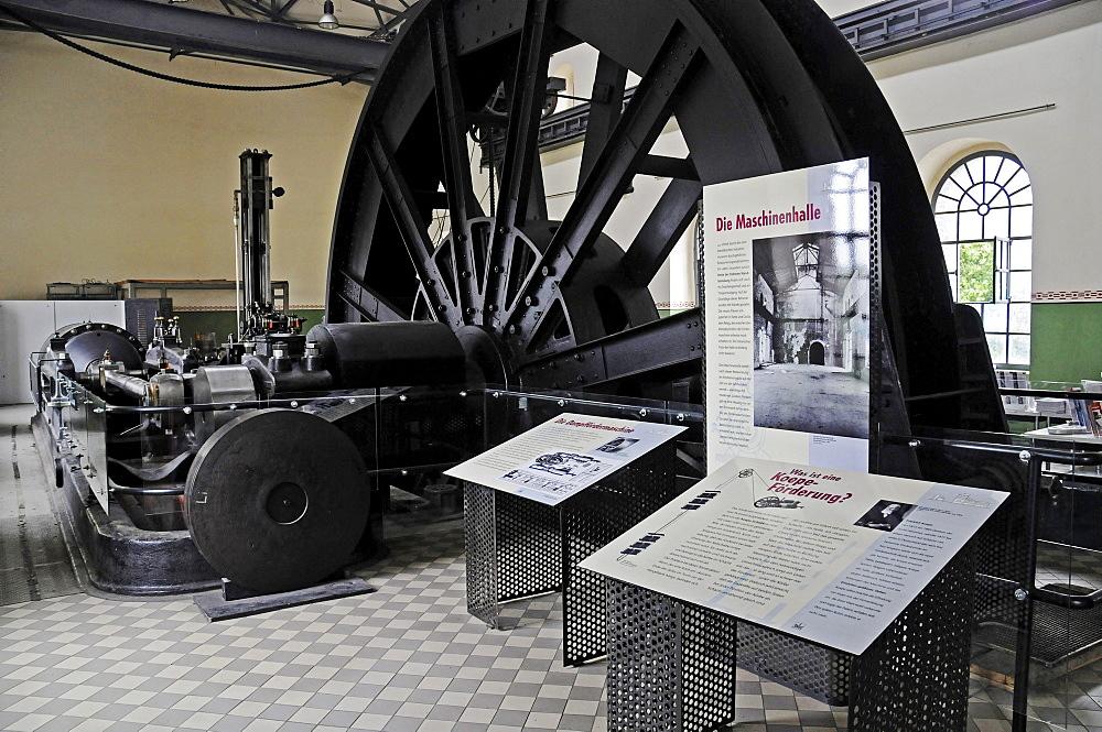 Steam-engine, turbine house, Zeche Hannover mine, LWL Industriemuseum industrial museum, Route der Industriekultur Route of Industrial Heritage, Bochum, Ruhr, North Rhine-Westphalia, Germany, Europe