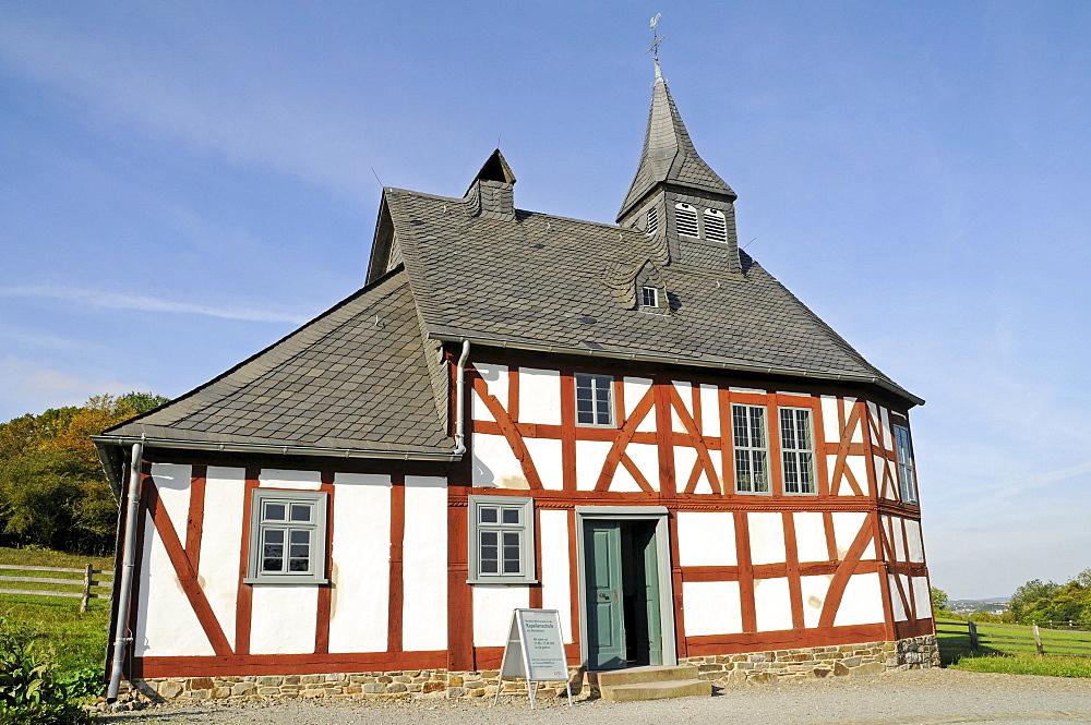 Chapel, chapel school, historic timber-framed building, open-air museum, Westphalian State Museum for Ethnology, Detmold, North Rhine-Westphalia, Germany, Europe