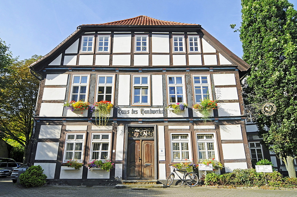House of Crafts, Chamber of Crafts, historic half-timbered building, historic town centre, Herford, Eastern Westphalia, North Rhine-Westphalia, Germany, Europe