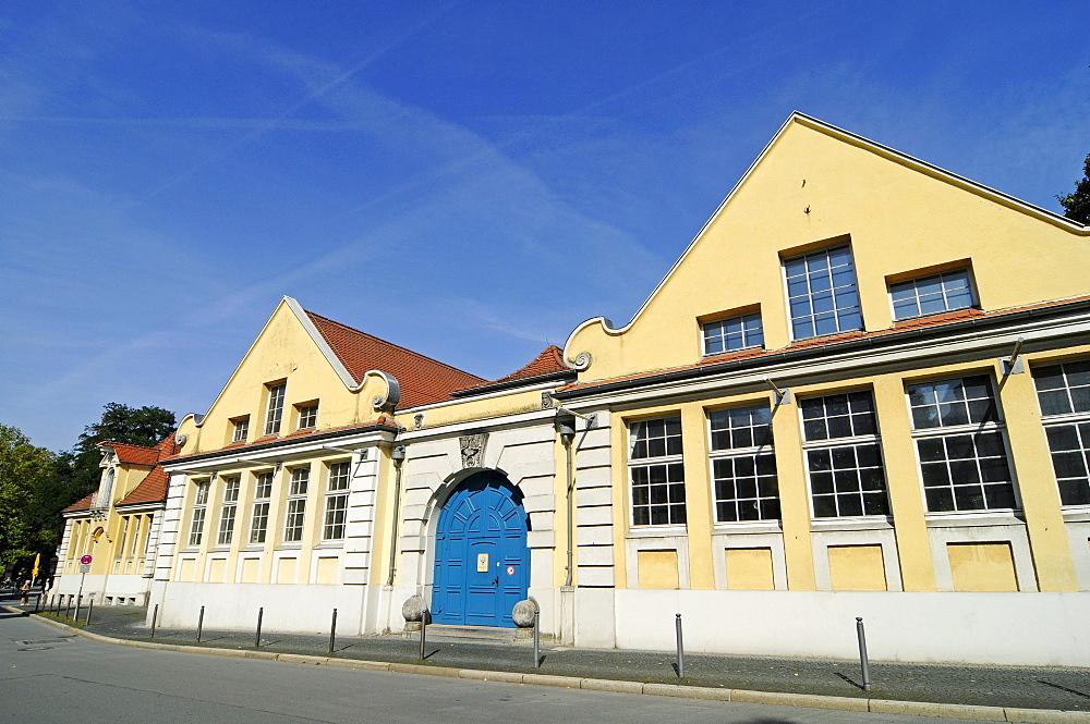 Ludwigs Markt market hall, weekly market, historic town centre, Herford, Eastern Westphalia, North Rhine-Westphalia, Germany, Europe