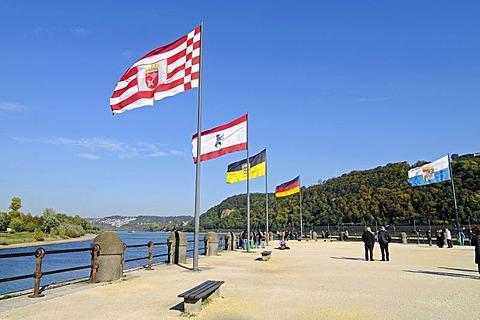 Flags, state flags, Deutsches Eck, German Corner, Moselle, Rhine, confluence, UNESCO World Heritage Kulturlandschaft Oberes Mittelrheintal cultural landscape of the Upper Middle Rhine Valley, Koblenz, Rhineland-Palatinate, Germany, Europe