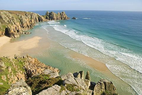 Porthcurno Beach, Pedn Vounder Beach, Logan Rock, South Coast, Cornwall, England, United Kingdom, Europe