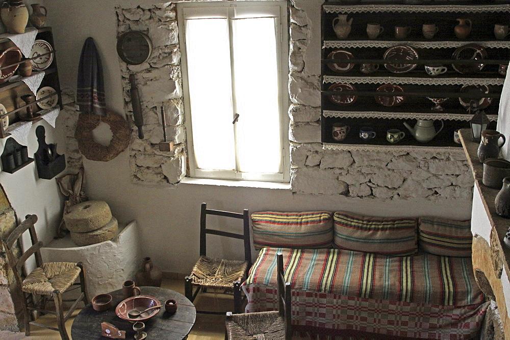 Middle-class home, Lychnostatis Open Air Museum, Museum of the traditional Cretan life, Hersonissos, Crete, Greece, Europe