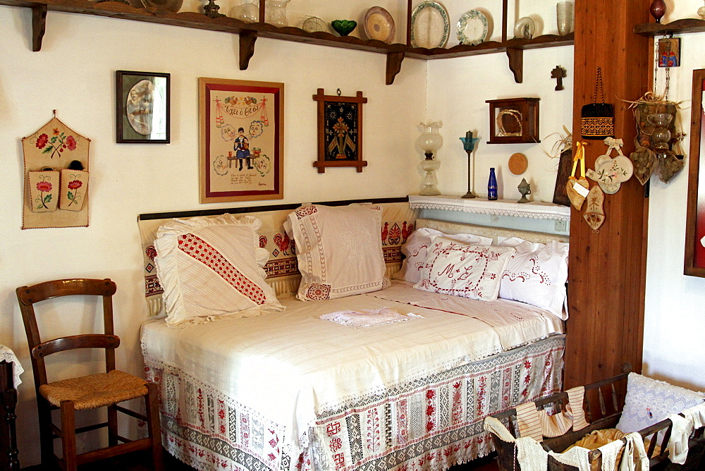 Wedding bed, Lychnostatis Open Air Museum, Museum of the traditional Cretan life, Hersonissos, Crete, Greece, Europe