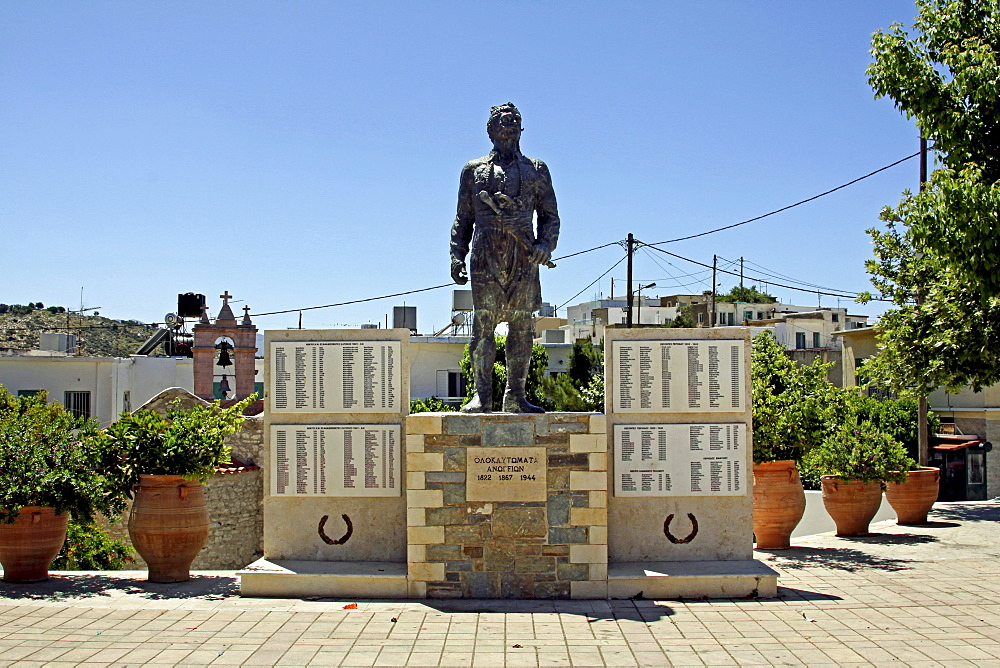 Monument to the freedom fighters and dead of the Second World War in the center of Anogia, Crete, Greece, Europe