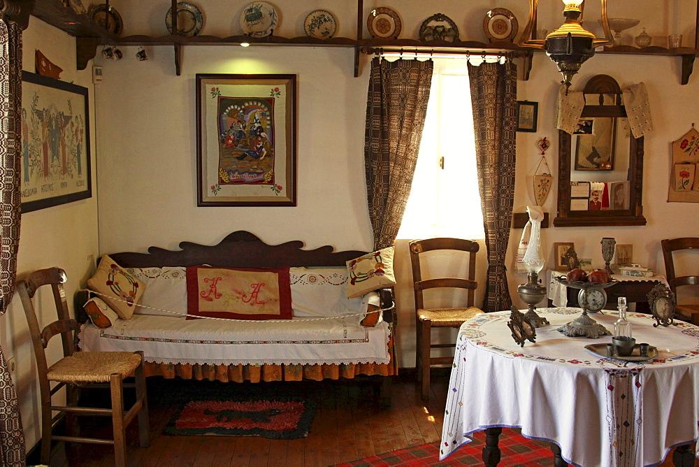 Room, Lychnostatis open-air museum, museum of local history, museum of traditional Cretan life, Hersonissos, Crete, Greece, Europe