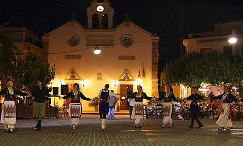 Folkloric evening, Cretan dances, church, Mohos, plateau, Crete, Greece, Europe