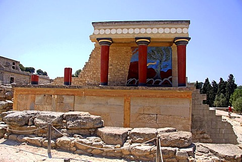 Knossos, archaeological excavation site, Minoan Palace, Heraklion, Crete, Greece, Europe