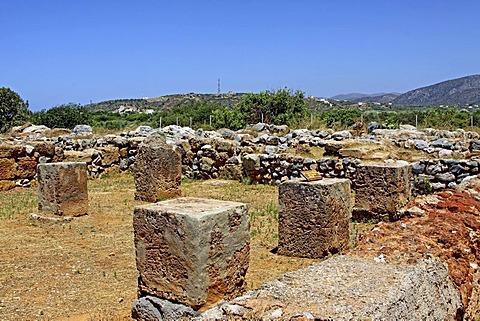 Columns, Malia Palace, archaeological excavation site, Minoan Palace, Heraklion, Crete, Greece, Europe