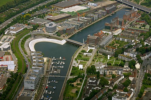 Aerial photo, Alltours tourist companies, Innenhafen Inner harbor, synagogue, Fiveboats Hitachi administration, Duisburg, Ruhrgebiet area, North Rhine-Westphalia, Germany, Europe