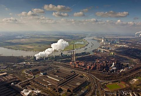 Aerial photo, ThyssenKrupp steel plant, Schwelgern coking plant, Rhine River, Duisburg, Ruhr area, North Rhine-Westphalia, Germany, Europe