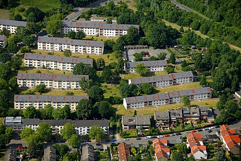 Aerial photo, Schaffrath Solar Village, Hegerothstrasse, F & S solar concept, Buer, Gelsenkirchen, Ruhr area, North Rhine-Westphalia, Germany, Europe