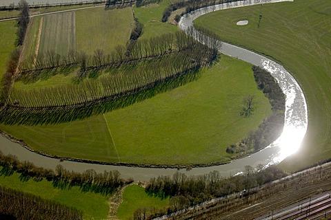 Aerial photo, floodplain of the Lippe river, sun reflection, holders, Muensterland area, Ruhrgebiet region, North Rhine-Westphalia, Germany, Europe