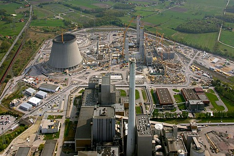Aerial photo, Kraftwerk Westfalen power plant, power plant construction, coal power plant, RWE-Power, Datteln-Hamm-Kanal canal, Uentrop, Hamm, Ruhrgebiet region, North Rhine-Westphalia, Germany, Europe