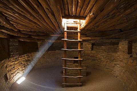 Ladder in a Kiva room for religious ceremonies, Spruce Tree House, Anasazi Native American ruins, Mesa Verde National Park, Colorado, America, United States