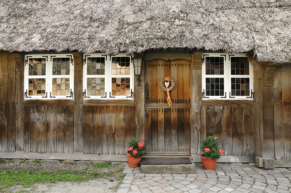 Entrance of a historic farmhouse in Wilsede, Lueneburg Heath Nature Park, Lower Saxony, Germany, Europe