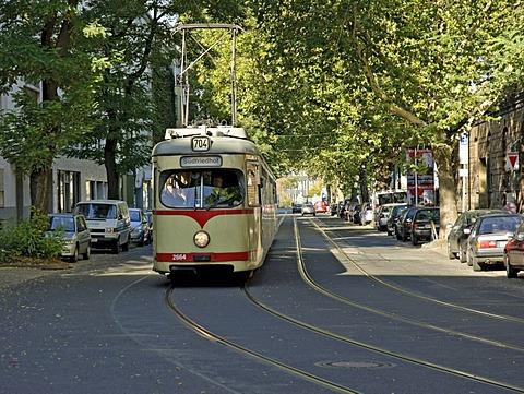 Rheinbahn tram Type GT8, at Derendorf, Duesseldorf, North Rhine-Westphalia, Germany, Europe