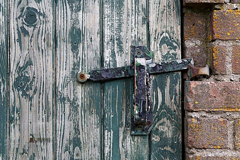 Lock on an old wooden door, Texel, Holland, The Netherlands, Europe