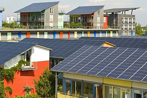 Solar Village with solar roofs, Freiburg, Baden-Wuerttemberg, Germany, Europe