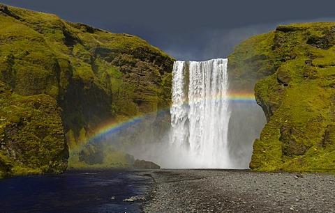 Skogarfoss waterfalls with rainbow, Iceland, Europe
