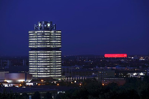 BMW four-cylinder building and Allianz Arena, Munich, Bavaria, Germany, Europe