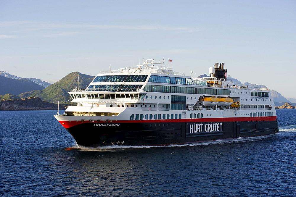 MS Trollfjord, Hurtigruten, near Svolvaer, Holandfjord, Norway, Scandinavia, Europe