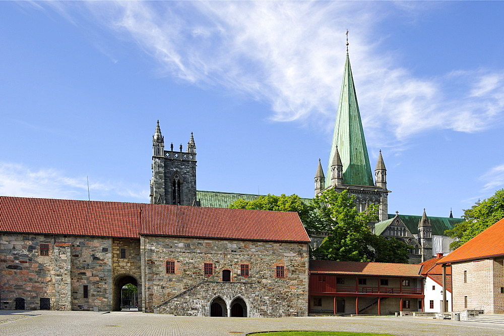 Palace of the archbishop in front of the tower of the Nidaros cathedral, Trondheim, Norway, Scandinavia, Europe