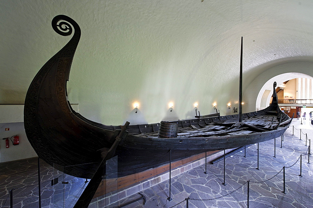 Oseberg shop, found 1904 in Vestfold, from 814-819, hall of the Viking ship hall Vikingskiphuset, Bygdoy, Oslo, Norway, Scandinavia, Europe