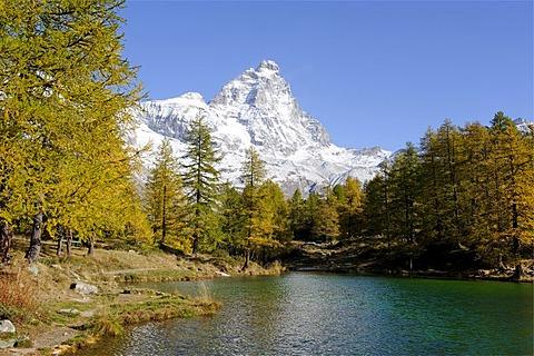 Matterhorn, 4478 m, above the Blue Lake near Breuil-Cervinia, Val Tournenche, Aosta Valley, Piedmont, Italy, Europe
